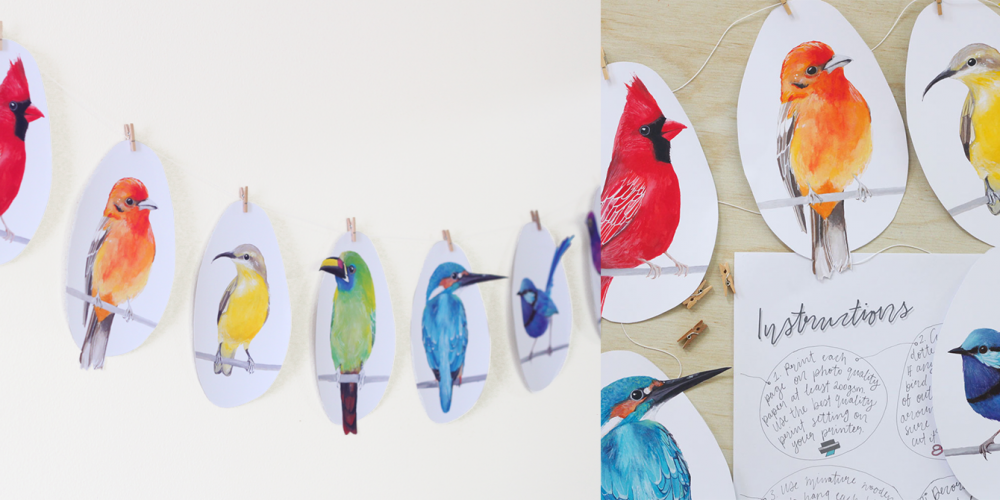 DIY Printable Bird Garland