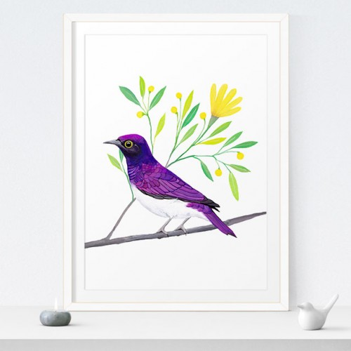 Printable Purple Bird 8x10